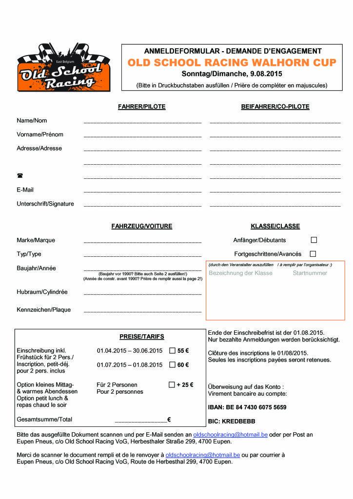 Anmeldeformular OSR WalhornCup 2015